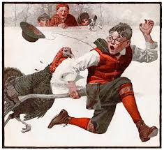 catching the thanksgiving turkey nrockwell 1917