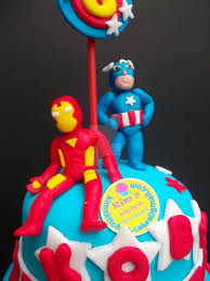 iron man and captain america fondant cake topper by kakays on