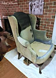 How To Reupholster A Wingback Armchair Wingback Chair Makeover Redhead Can Decorate