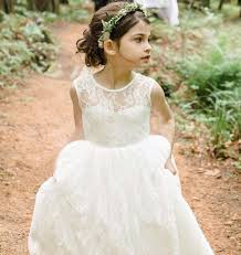 backless long lace flower dresses kids party gowns for