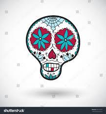 drawn sugar skull cartoon pencil and in color drawn sugar skull