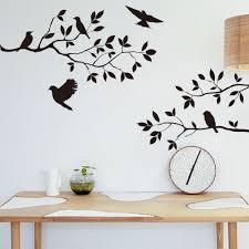 Living Room  Black Vinyl Doves On The Branches Living Room Wall - Wall sticker design ideas