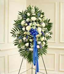 funeral spray blue white sympathy standing spray at from you flowers