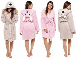 robe de chambre polaire womens hooded dressing gown fleece novelty