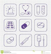 sketches simple medical icons set stock vector image 35831681