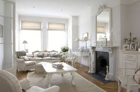 shabby chic living room ideas white fireplace walnut wall shelves