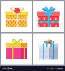 deco wrapping paper set of stylish gift boxes in deco wrapping paper vector image