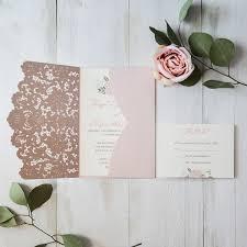 wedding invitations laser cut blush pink floral laser cut wedding invitation cards