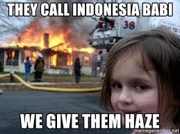 Meme Babi - they call indonesia babi we give them haze disaster girl meme