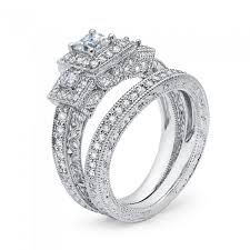 princess cut wedding set 1 ct t w cushion cut vintage white gold wedding set