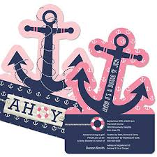 girl themes for baby shower ahoy nautical girl shaped baby shower invitations