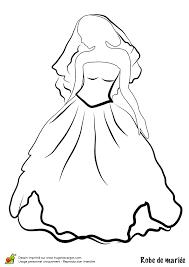 dessin coloriage robe de mariée bustier et jupe ample coloriages