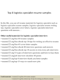 Contract Specialist Resume Sample by Click Here To Download This Transportation Logistics Specialist