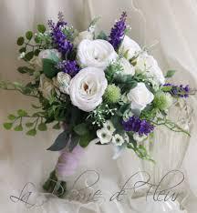 Artificial Flower Bouquets Scottish Wedding Bouquet Silk Flower Bouquet White Purple