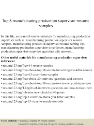 Production Manager Cover Letter Manufacturing Supervisor Resume Samples Educational Qualification