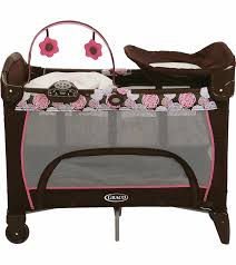 Pink And Brown Graco Pack N Play With Changing Table Graco Pack N Play Playard With Newborn Napper Station Dlx Chelle