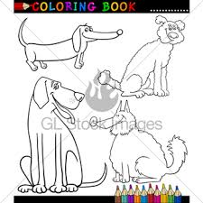 cartoon dogs or puppies for coloring book gl stock images