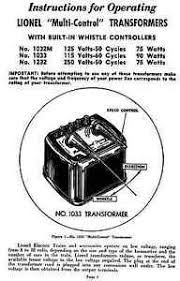 copy of lionel 1033 transformer instructions and service and