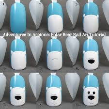 adventures in acetone tutorial tuesday polar bear nail art