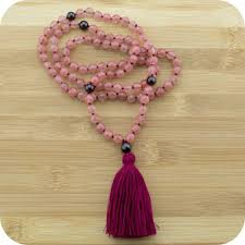 red crystal beads necklace images Knotted cherry quartz yoga japa mala beads necklace with red jpg