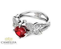 butterfly engagement ring butterfly design ruby engagement ring 14k white gold ruby