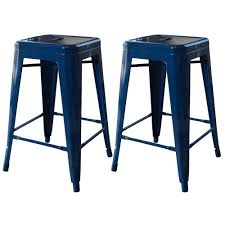 blue bar stools kitchen furniture amerihome loft style 24 in stackable metal bar stool in blue set