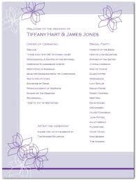 Simple Wedding Program Templates Printable Outline Flower Wedding Program Template