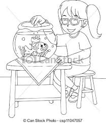with goldfish colouring page outline illustration of a