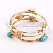 diy bracelet stones images Handmade diy wire wrapped stones gold bangle bracelet view jpg