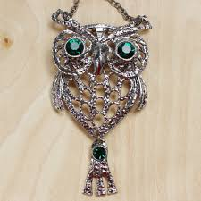 vintage owl pendant necklace images Green eyed vintage owl pendant necklace 805 mimi boutique jpg