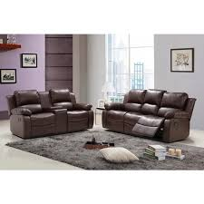 Reclining Sofa With Center Console Faux Leather Reclining Sofa And Loveseat Set With Tea