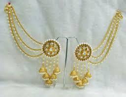 gold kaan earrings babosa sakhi bahubali pearl earrings indian bridal gold plated