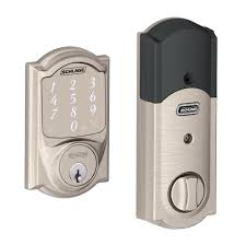 Eastern Accents Trimming Schlage Sense Smart Deadbolt With Camelot Trim Satin Nickel Be479
