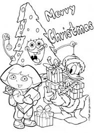 printable christmas dora spongebob donald duck coloring pages