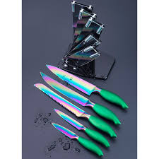 titanium kitchen knives shop 5 pcs knife set colorful titanium layer blade kitchen