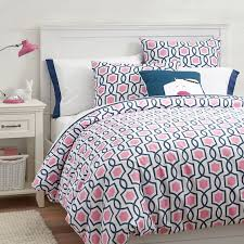 trellis twist duvet cover sham bright pink royal navy pbteen