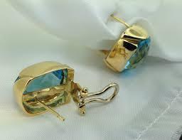 topaz earrings 18k italian designer pineapple cut blue topaz earrings exeter
