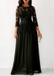 lace three quarter sleeve black maxi dress modlily usd 44 76