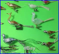 34 vtg glass feather tree clip on birds ornaments