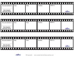 printable film strip invitations coolest free printables