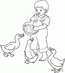 boy feeds gooses coloring page free printable coloring pages