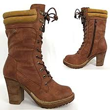 womens combat boots uk high heels boots womens mid calf biker combat style fashion