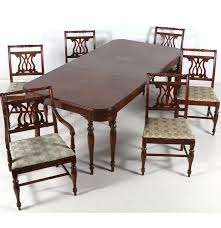 federal sheraton style mahogany dining room table and six chairs