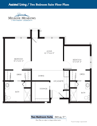 2 bedroom floor plans melrose meadows assisted living apartments floor plans