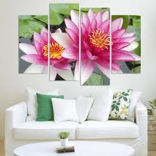 discount wall art 3 picture combination canvas art wall art paintings 4 panel wall art pictures botanical lotus oil painting on canvas unframed the picture