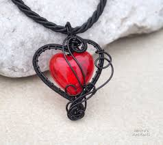 gothic heart necklace images Red heart wire wrapped goth pendant by ianirasartifacts jpg