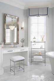 Restoration Hardware Bathroom Mirror by Built In Makeup Table With Venetian Beaded Mirror Transitional
