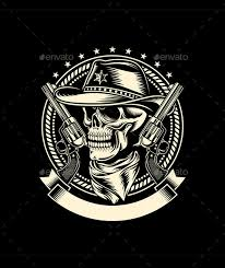 cowboy skull with handguns by vectorfreak graphicriver
