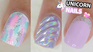 cute unicorn inspired nail ideas for short nails nail art