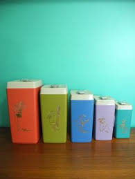 retro turquoise blue tin kitchen canister set lincoln beautyware